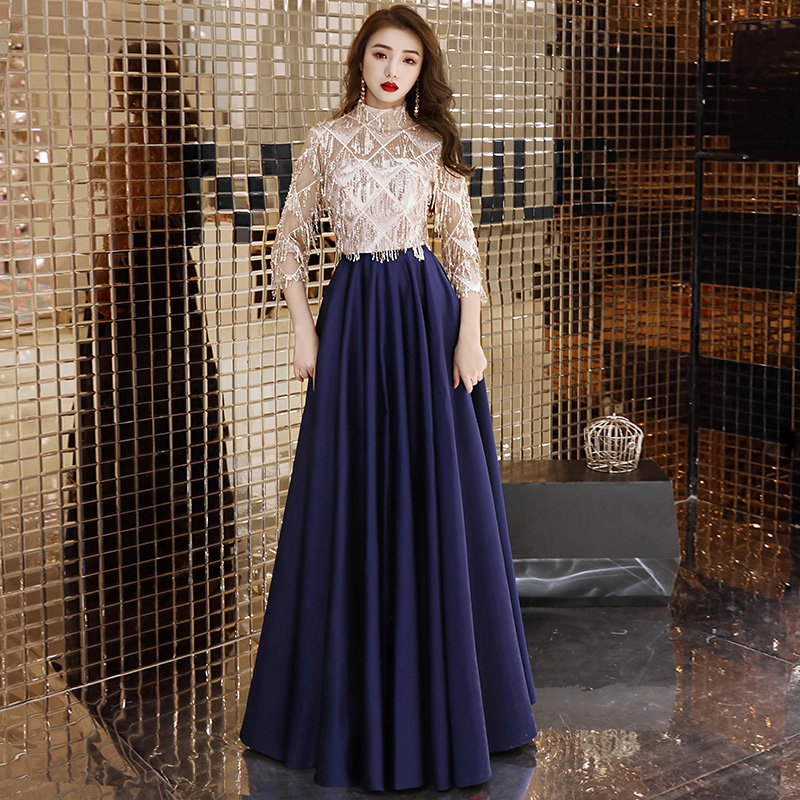 2019 Navy Blue Sequins Short Sleeve   Evening     Dresses   High Neck Luxury Arabic Formal   Evening   Gowns   Dresses   LYFY127