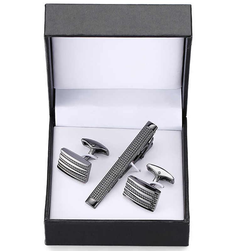 セットのグレードネクタイクリップ彫刻絶妙なカフスアンカーサックスクリスタルカフスボタンは、クリップブラックスクエアボックスセット送料無料
