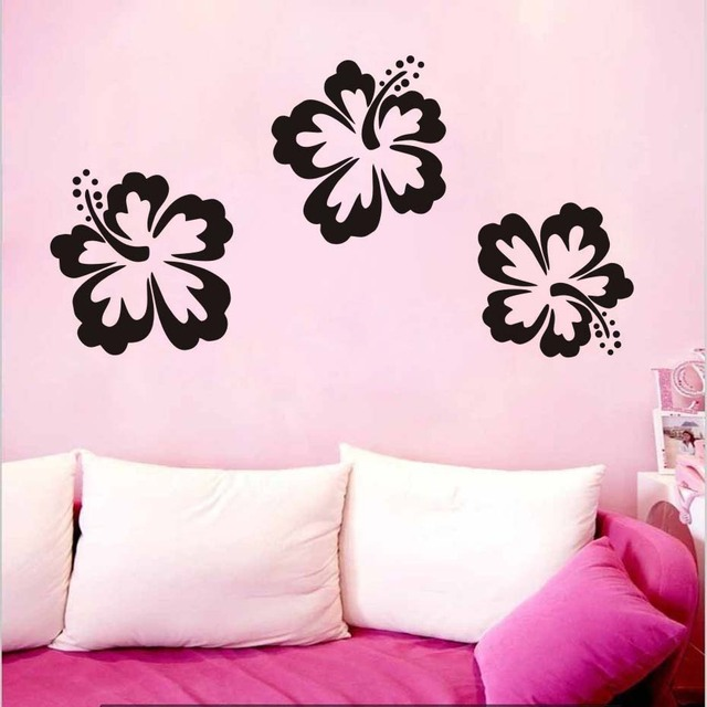 diy 3 piece set of hibiscus flowers wall stickers for living room