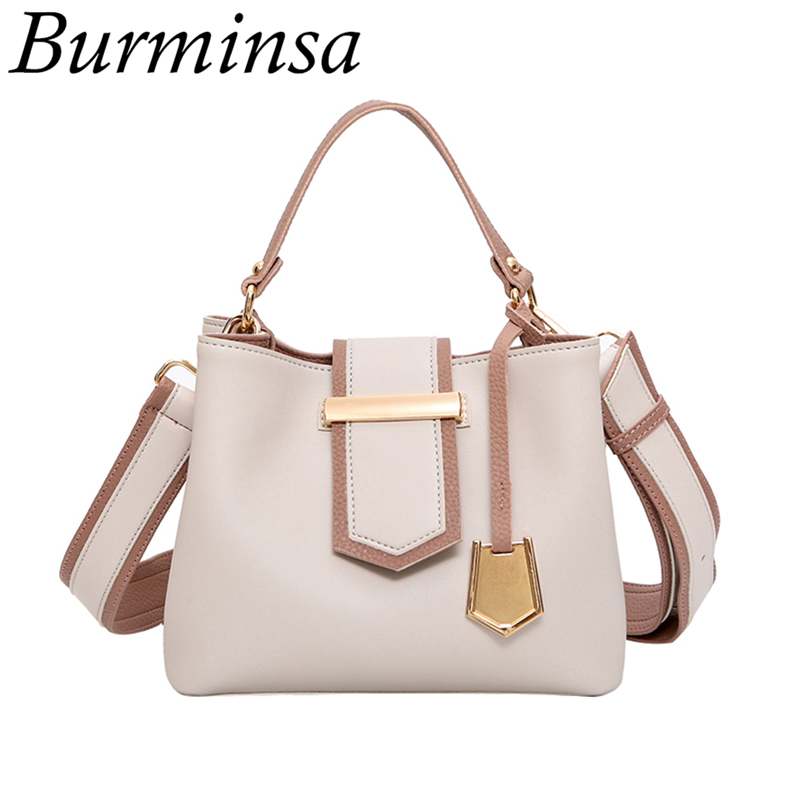 Burminsa Brand Wide Strap Bucket Bags Small Tote Shoulder Bags Designer Handbag High Quality PU Leather Crossbody Bags For Women