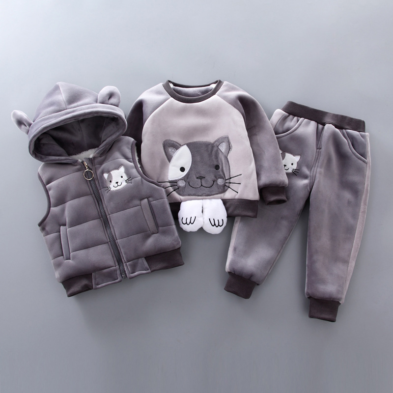 BibiCola baby boys girls clothing 2018 winter newborn fashion thick hooded vest+cartoon long sleeve top+casual pants 3pcs sets недорого