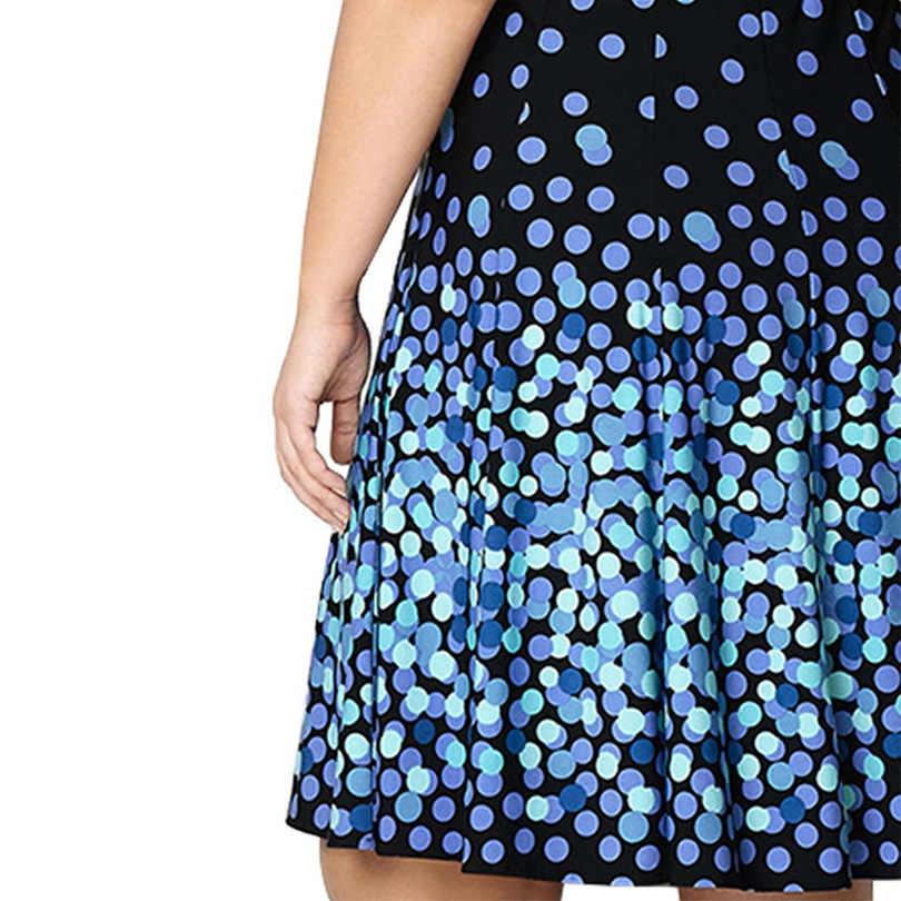 2019 Большие размеры, вечерние платья, летнее винтажное синее платье в горошек длиной до колена, свободное платье макси, 5XL 6XL, платья больших размеров