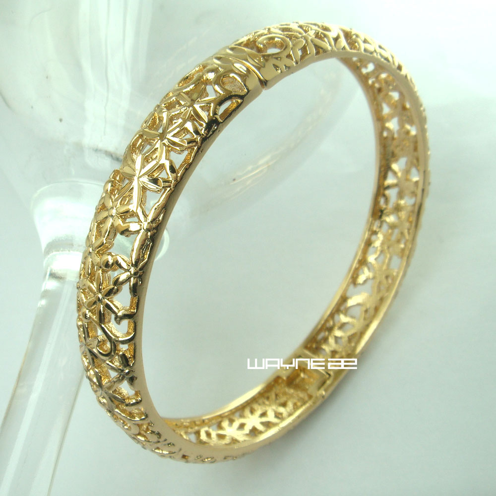 G117 9k 9ct Rose Gold Filled Filigree Pattern Solid Open Bangle Bracelet China
