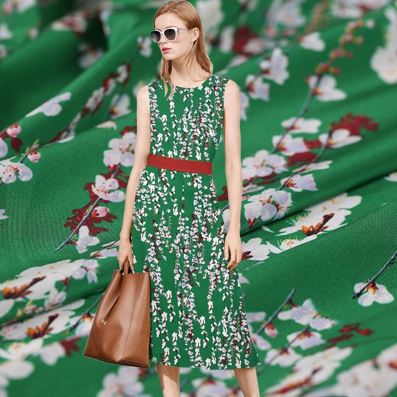 Green dripping digital painted silk natural crepe DE chine plush fabric for dress tecidos a metro tecido tissu shabby chic tela