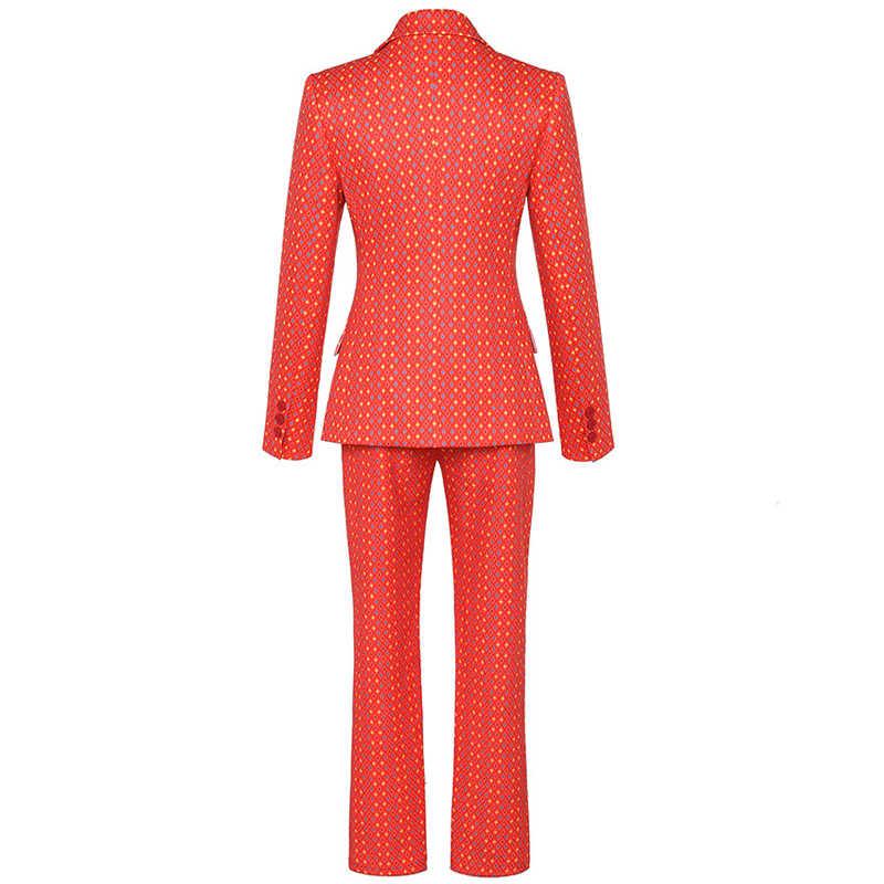 Hoge Kwaliteit Runway Designer Broek Pak vrouwen Vintage Plaid Bloemenprint Office Lady Blazer Jas Vrouwelijke Broek Tweedelige set