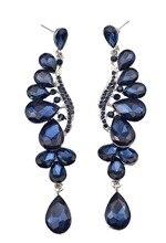 Luxury Blue Purple Crystal Rhinestone Earrings For Women Bridal Feather Shape Drop Dangle Earring Wedding Party Bridal Jewelry