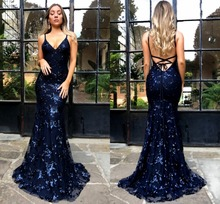 2019 New Spaghetti Straps Sequined Lace Navy Blue Mermaid Cheap Prom Dress Long Backless Criss Cross Formal Party Evening Gowns