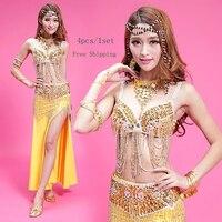 בטן ריקודי בטן תלבושות זהב מהבהב סקסי שמלת ביצועים למבוגרים חדשים חצאית שבטית 4 יחידות/1 set ריקודי בטן הודי בגדים