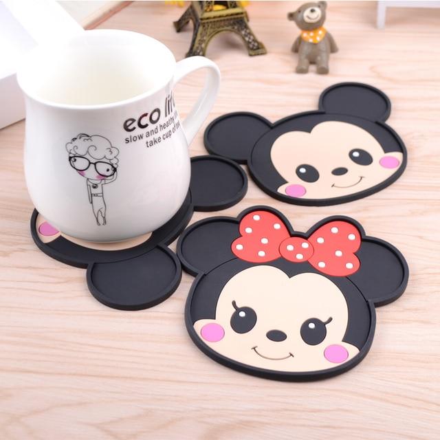 1 Pz Cartoon Mickey & Mini Silicone Anti Slip Kawaii Stuoie della Tazza Ciotola