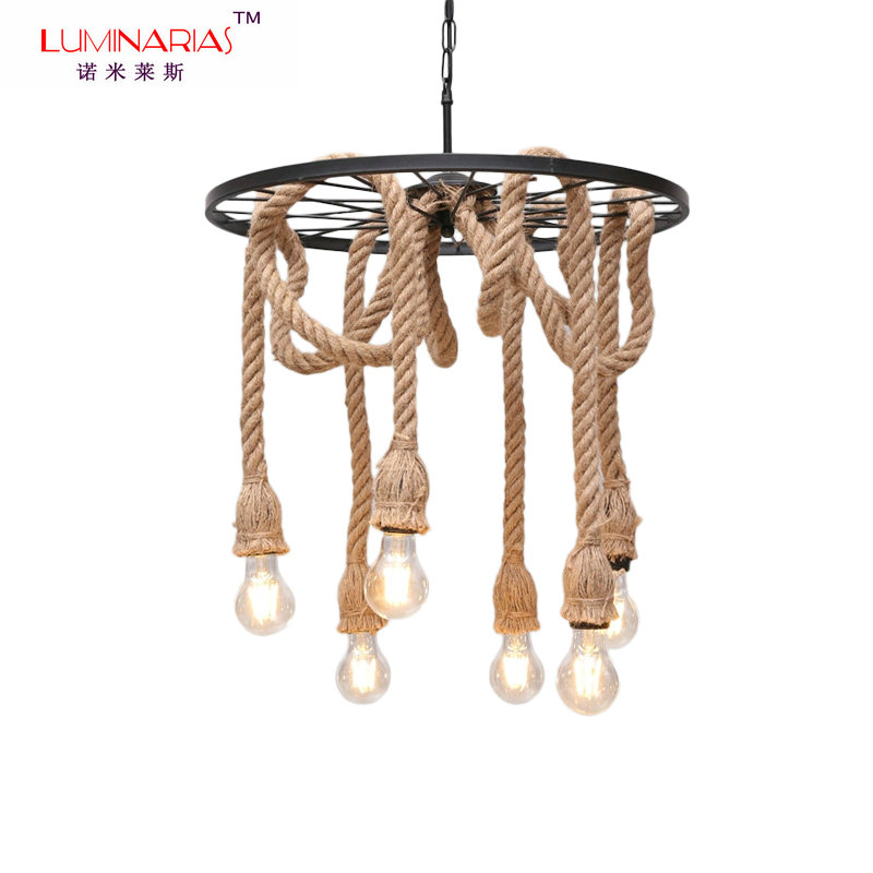 Retro loft Vintage American Hemp Rope Iron Pendant Lamp Parlor/Coffee House/Dining Room/Bar/Shop Indoor Lighting E27 110V 220v loft american edison vintage industry crystal glass box wall lamp cafe bar coffee shop hall store club
