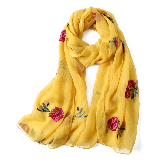 Bufanda de Seda Puntada de Relleno en Flores  para Mujer Primavera/Verano