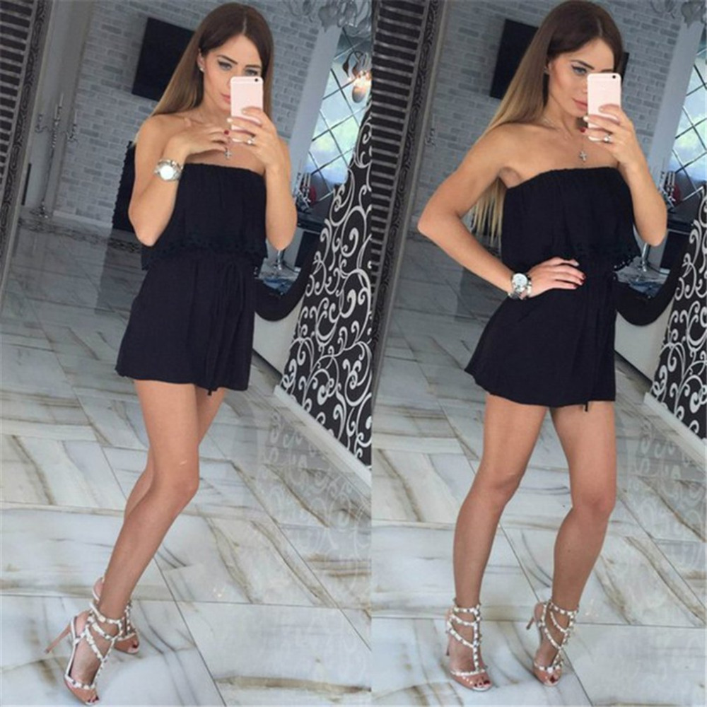 Summer Fashion Jumpsuits women leisure sexy strapless chest wrapped piece shorts rompers Women jumpsuit Solid Playsuits