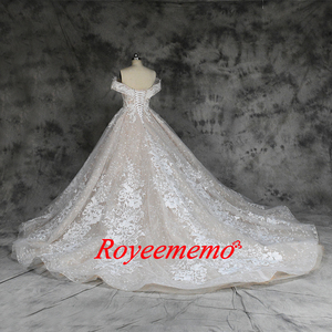 Image 5 - new luxury lace design wedding dress off the shoulder short sleeve wedding gown factory custom made wholesale price bridal dress