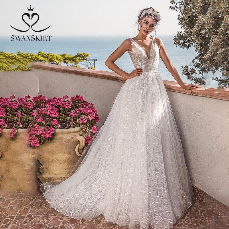 Swanskirt Fairy V-neck Tulle Wedding Dress 2019 Appliques Backless A-Line Sleeveless Bridal Gown In Turkry Vestido De Noiva PZ08