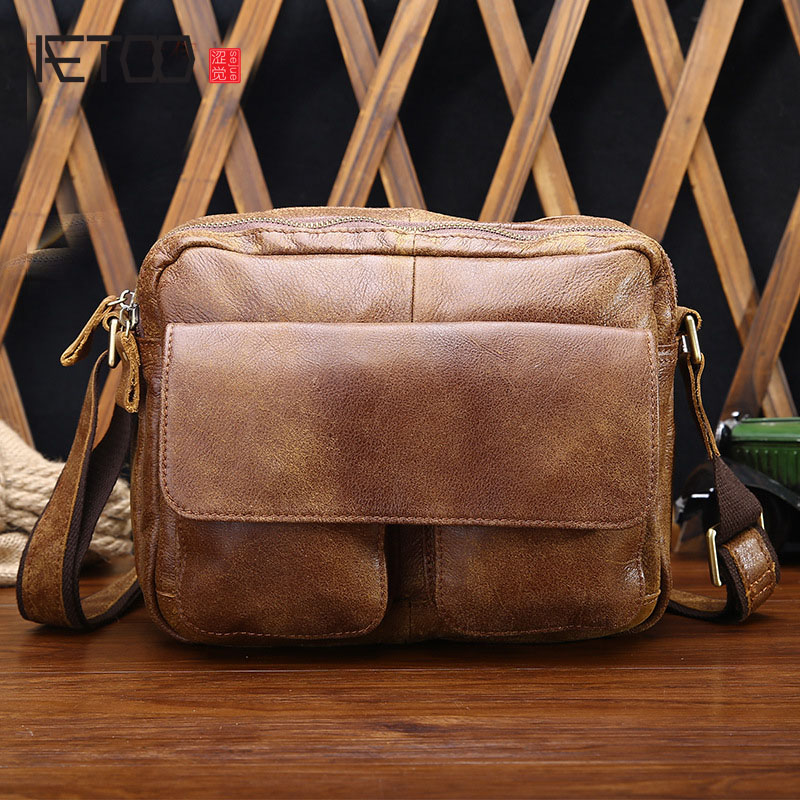 AETOO Summer new fashion casual leather men bag shoulder bag men first layer of leather Messenger bag retro tide package leather handbag shoulder bag casual first layer of leather men s oil wax messenger bag korean man bag tide