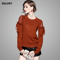 Women Fashion Sweaters And Pullover Autumn Spring Ladies Lace Bow Tie Long Sleeve Knitted Sweaters Loose