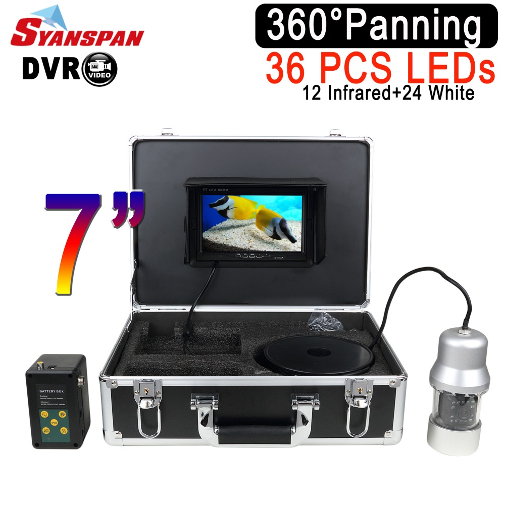 SYANSPAN Waterproof DVR Fish Finder 7LCD Monitor Video Camera HD 1000TVL Underwater Ice Fishing 36 LEDs 360 Degree Rotating