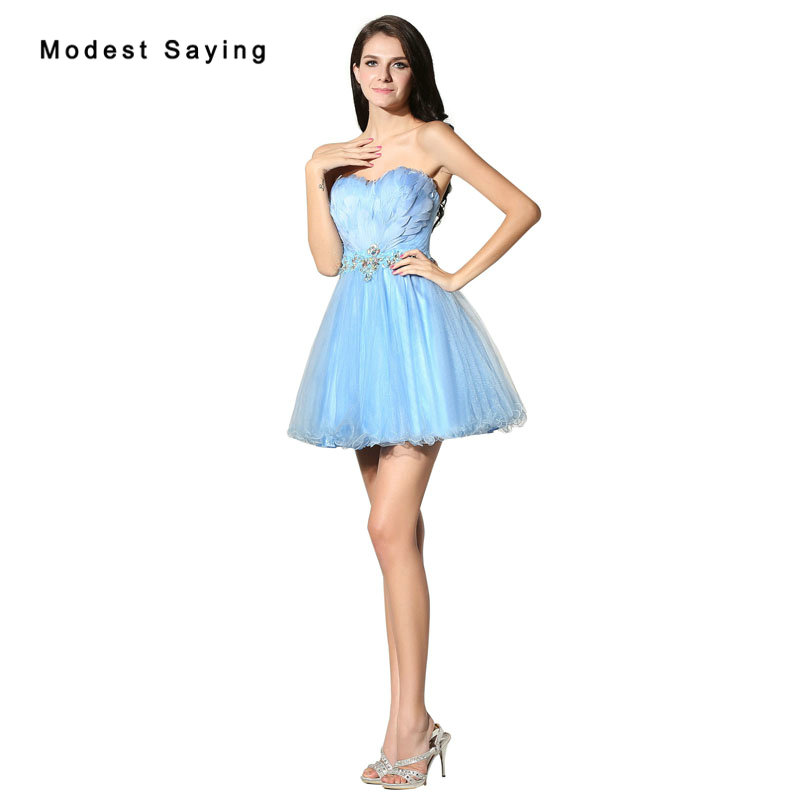 New 2017 Sexy Light Blue Short Feather Cocktail Dresses with Rhinestone for Girls Formal Party Prom Gown Mini vestidos de coctel