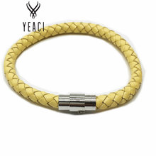 Hot Sale New Jewelry For For Pulseira Free Shipping 20pcs 6mm Braided Genuine Leather Magnetic Bracelet, Fashion Bracelet