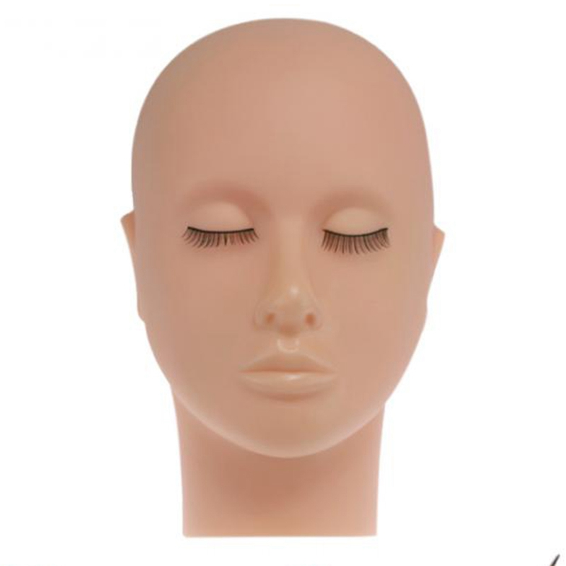 NEW-Mannequin Flat Head Silicone Practice False Eyelash Extensions Makeup Model Massage Training