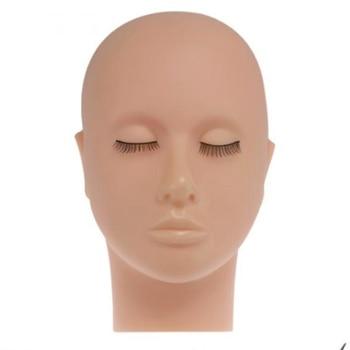NEW-Mannequin Flat Head Silicone Practice False Eyelash Extensions Makeup Model Massage Training