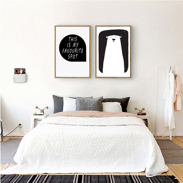 New Minimalist Canvas Painting Oil Pictures Cartoon Bear Nursery Posters Black And White POT Art Kids