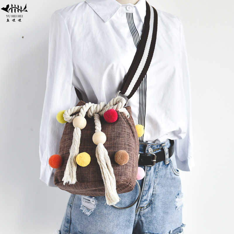 New Vintage Fashion Women Shoulder Crossbody Bag High Quality Canvas Colors  Balls Gypsy Boho Bohemian Bags 347c212b35a7