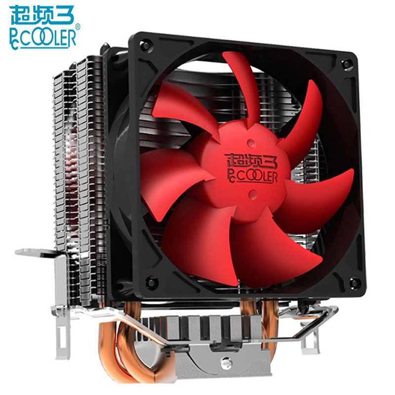 PcCooler CPU cooler fan pure cooper 2 heatpipe silent cooling radiator fan for Intel LGA 775/1150/1151/1155 1366 for AMD AM2+/AM image