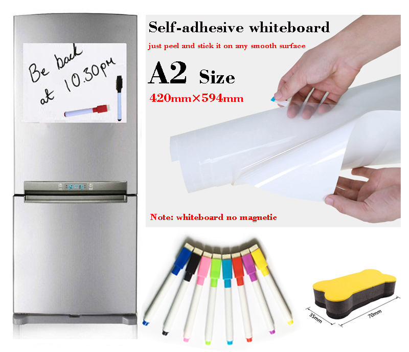 A2 Size Elf-Adhesive Whiteboard Message Board Memorandum Presentation Boards Fridge Sticker White Board Gift 8 Pen 1 Eraser