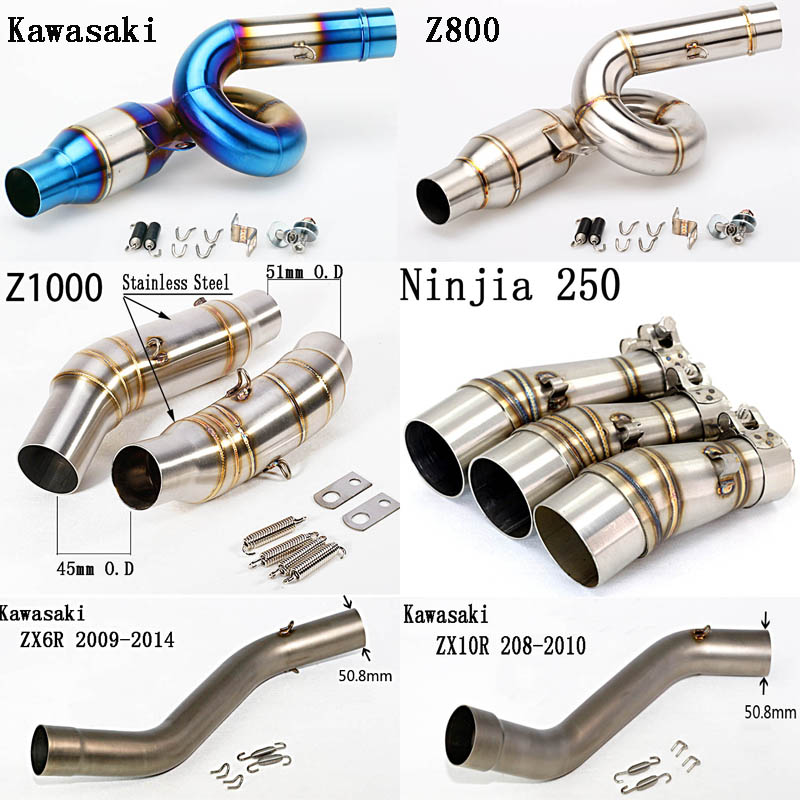For Kawasaki Ninja 250 Z800 Z1000 ZX6R 2009-2014 ZX10R 2008-2010 Motorcycle Exhaust Muffler Middle Mid Link Pipe Stainless Steel
