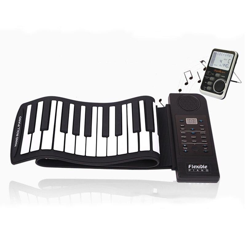 61 touches 128 tonalités synthétisées 100 rythmes prédéfinis Piano électrique à enrouler supérieur avec touches souples pour l'éducation des enfants