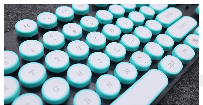 ABS USB Wired Typewriter Steam Punk Style Keyboard With Round Glowing Keycaps For PC Laptop 3