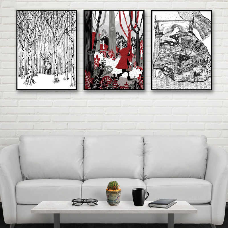 Decor Kids Room Canvas Picture Big Grey Wolf And Little Red Riding Hood Painting Forest Deer Poster Wall Art Nordic Style Prints