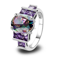 Wholesale Charm Fancy Shinning Round Cut Rainbow Sapphire & Amethyst 925 Silver Ring Size 6 7 8 9 10 Noble Jewelry Free Shipping