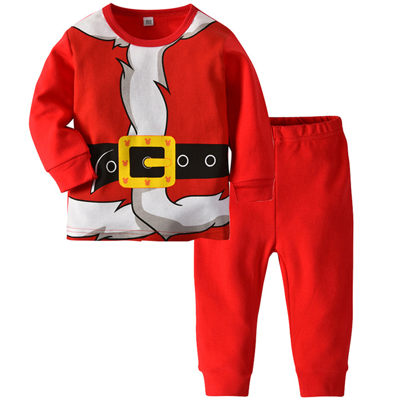 Christmas Sleepwear Boy Girl Cotton Santa Claus 3D Pattern Christmas Pajamas  Long-sleeved Shirt Trousers Home Service Suit