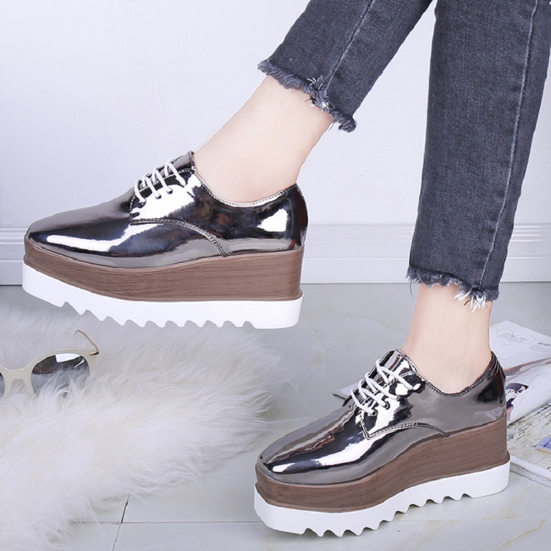 2018 Autumn Women Wedges Shoes Platform Oxford Women Shoes Fashion Women Casual Shoes Female Lace Up Women Sneakers