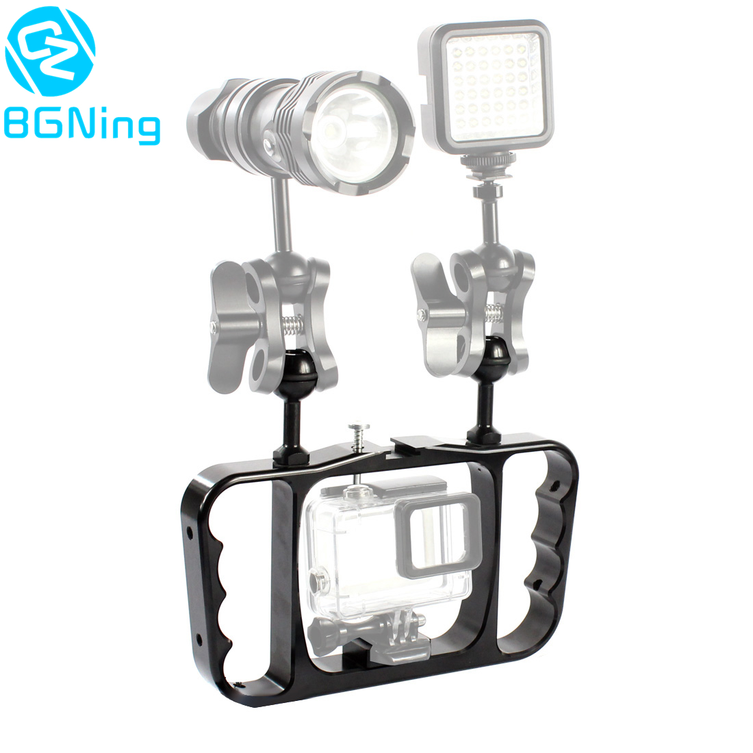 Dual Handle Scuba Diving Bracket Flash Light Mounting Frame Kit for Gopro Hero 7 6 5 4 SJCAM Sony Camera Camcorder Smartphone-in Sports Camcorder Cases from Consumer Electronics