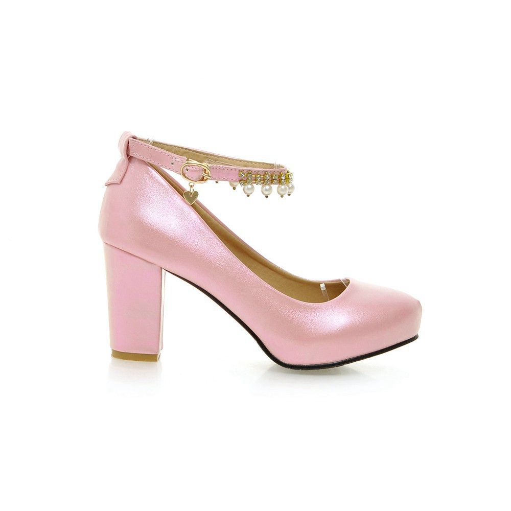 2017 Chunky High Heeled Pink Bridal Wedding Shoes Beaded White Female Buckle Elegant Pumps Silver Gold12