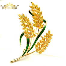 Harvest Vintage Yellow Sheath of Wheat Brooch Gold Tone Stem Green Enameled Leaf Spike of wheat Pins Broaches for Autumn Jewelry