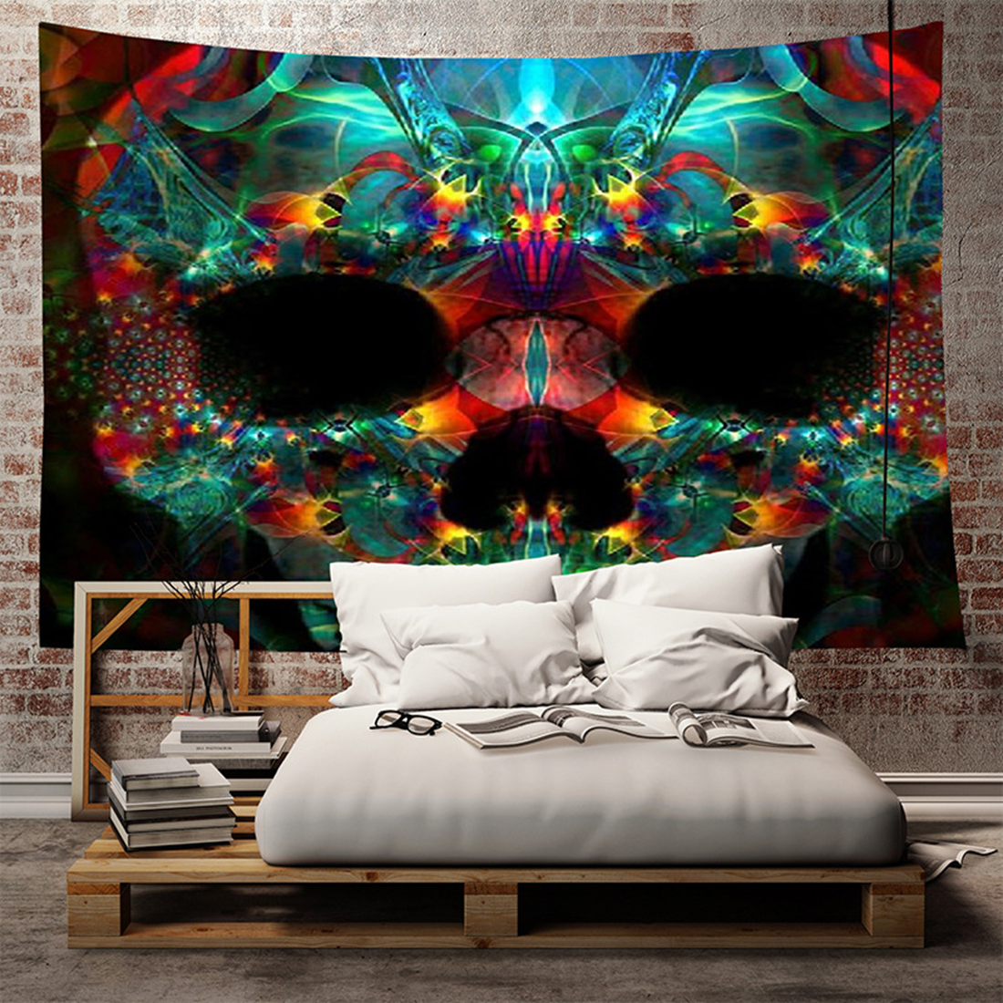 Hanging Home Decor: Colorful Skull Tapestry Colored Printed Decorative Indian
