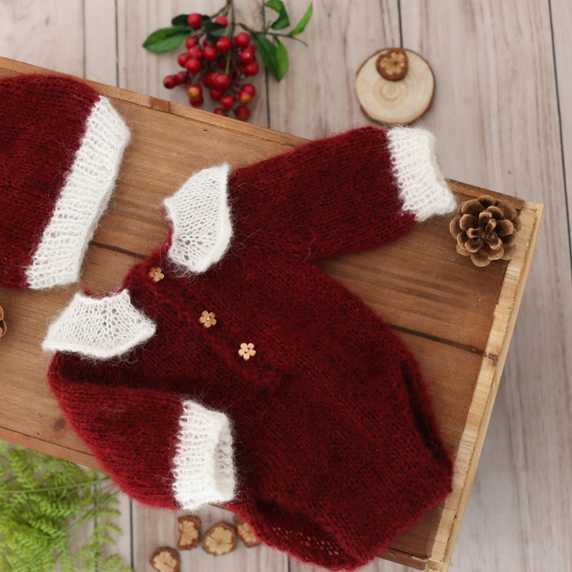 Newborn Christmas Outfit Santa Claus Romper Bonnet set for Photography props Baby Overall Sitter hat Fox Long sleeves