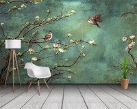 Обои на заказ, 3d обои, ручная роспись, цветы и птицы, модный интерьерный фон, украшение, 3d обои