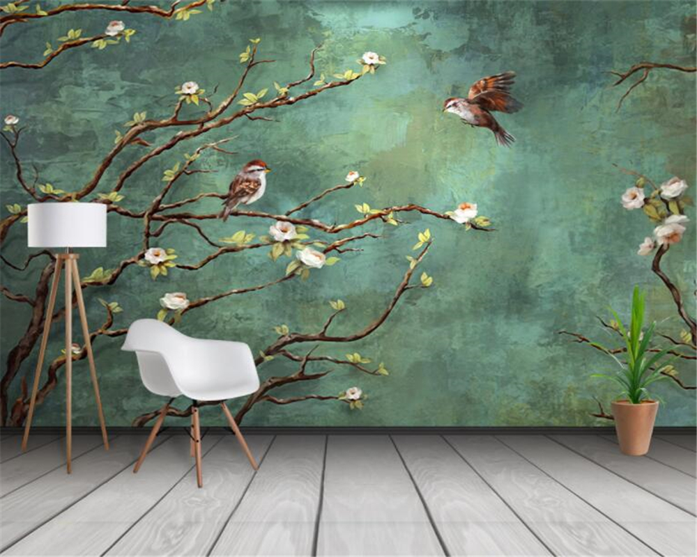 Beibehang Custom wallpaper 3d mural hand-painted painting flowers and birds fashion interior background decoration 3d wallpaper image