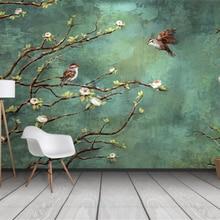 Papel pintado personalizado Beibehang, mural 3d pintado a mano con flores y pájaros, Fondo de moda interior, decoración 3d, papel tapiz