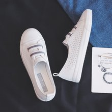 Frau Schuhe 2019 Sommer Neue Mode Schuhe Frau Casual Mikrofaser Leder Einfache Frauen Casual Striped Schuhe Turnschuhe Atmungsaktiv