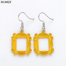 Friends TV Show Big Earrings Peephole Frame Yellow Korean Earring Fashion Jewelry Best Friend/Valentine'Day Gift for Girlfriend(China)