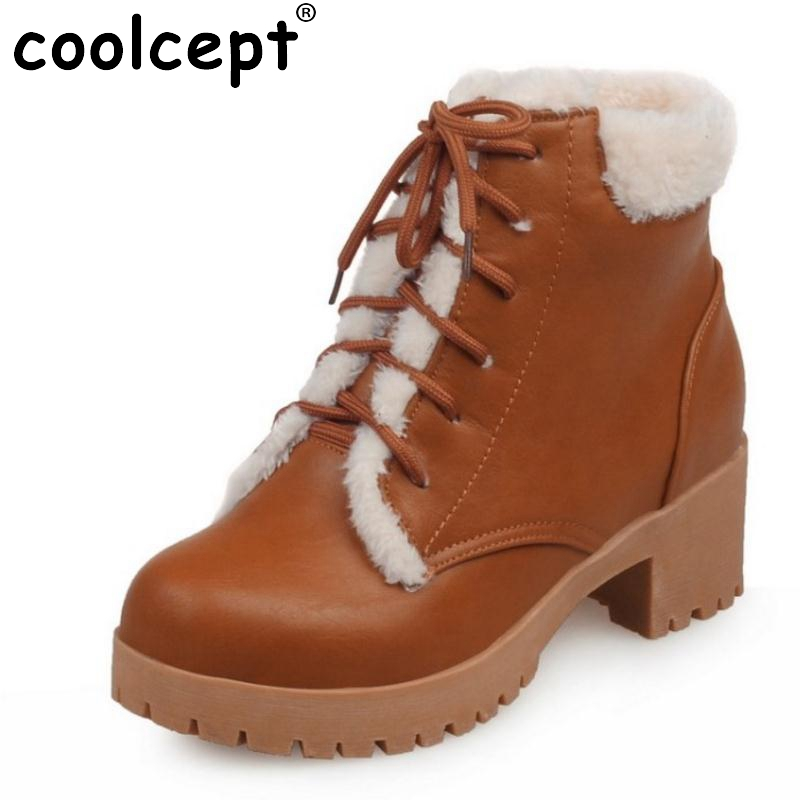 New Autumn Winter Women Ankle Boots Woman Martin Waterproof Outdoor Snow Botas Lace Up Warm Fur Shoes Footwear Size 34-43 e toy word bullock ankle boots for women autumn increase lace up martin boots british retro boots winter high help botas mujer