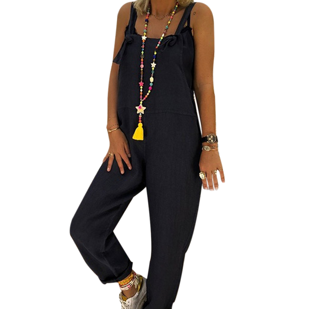 Vessos Women'S Jumpsuit Harem Pants Work Date Rompers Sleeveless Casual Party Pants Cotton M-XL
