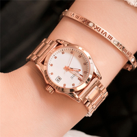GUOU Women Bracelet Watch 2018 Luxury Brand Rhinestone Ladies Quartz Watches Luminous Women Clock With Calendar