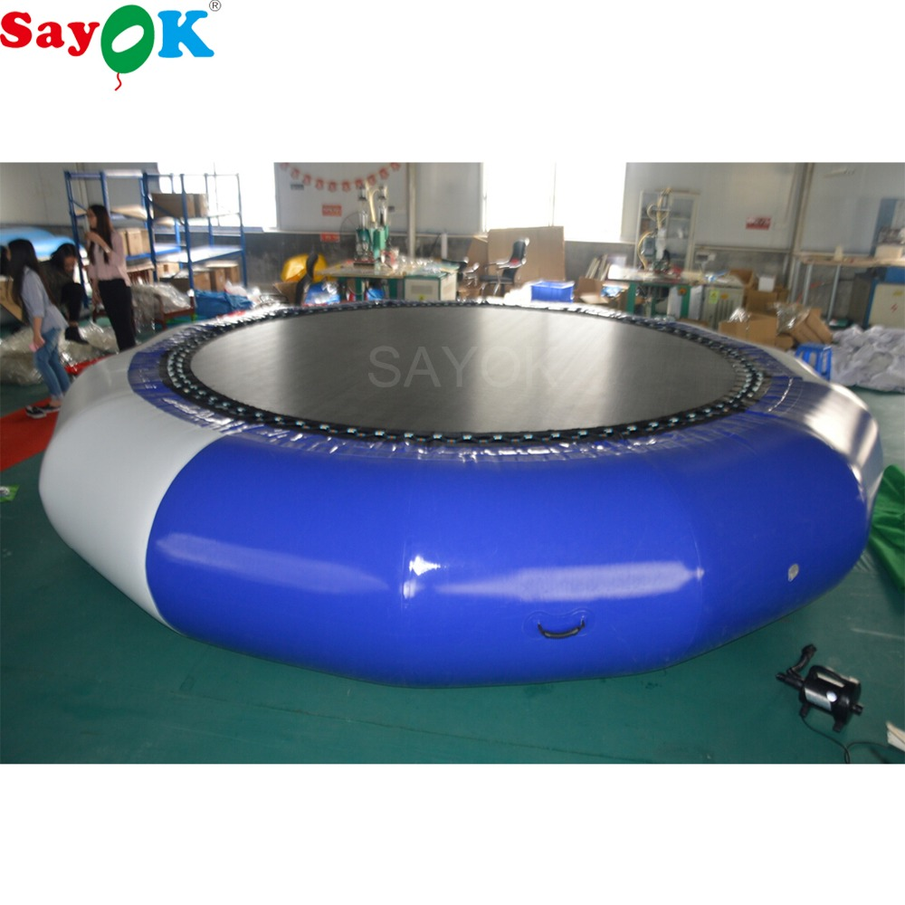 Sayok 5m Diameter Inflatable Water Trampoline 0.9mm PVC Water Bouncer Jumping Bed with Air Pump for Water Sport Games